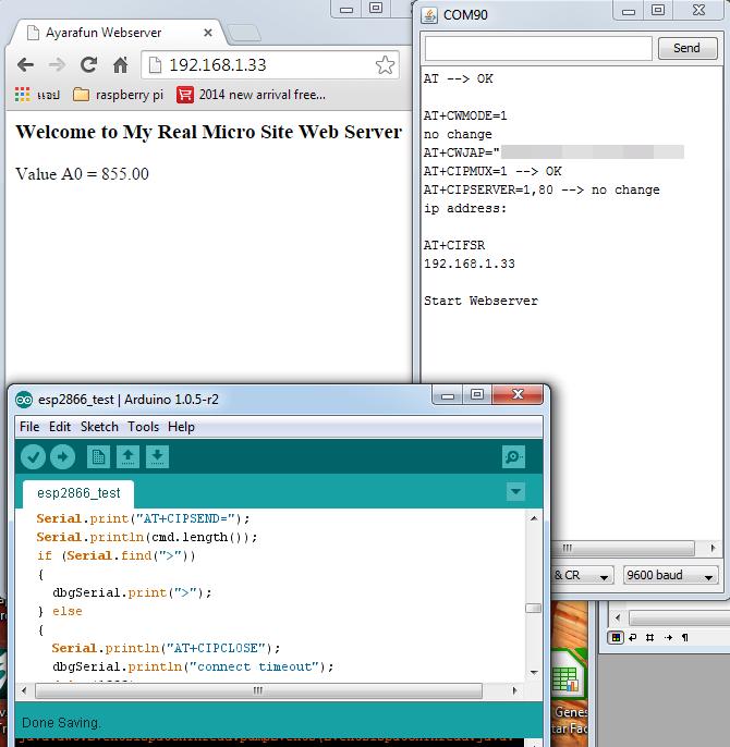 Micro wifi webserver จาก โมดุล esp และ arduino